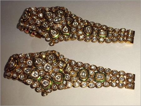 Green Meena Polki Bracelet Pair