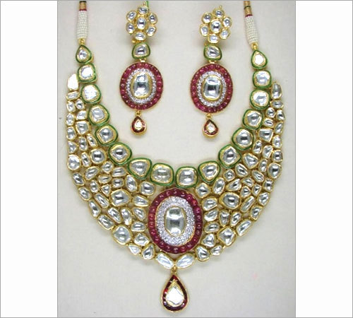 Jadau Red Pota Polki Necklace