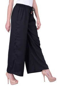 Women Plain Black Women Palazzo Trouser