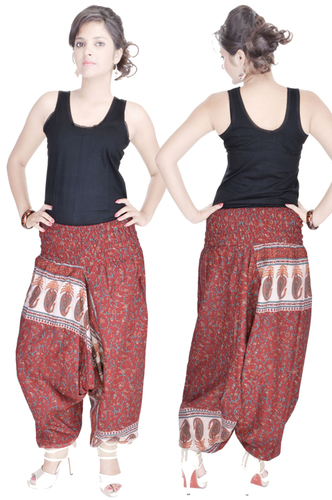 Cotton Printed Afghani Maroon Color Trouser