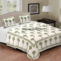 Hand Block Indigo Printed Bed Sheet, Bed Spread,Cover, Indian Bedding, Tapestry