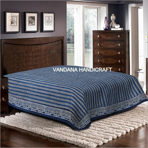 Hand block Printed Bed Sheet With Pillow's Cover 100% Cotton bed sheet soft