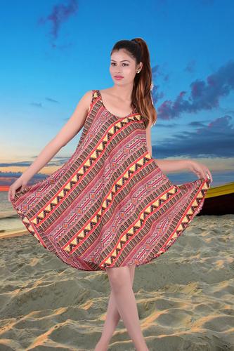 Poly Crepe Printed Umbrella Dress