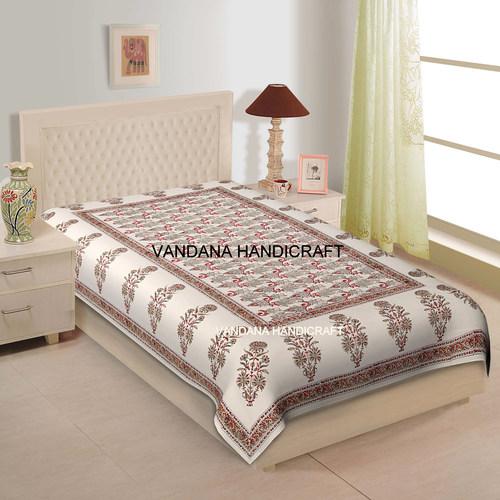 100% Cotton Hand Block Printed Soft Luxury Bedspread Bedsheet