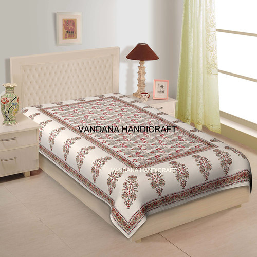 Hand Block Printed 100% Cotton Soft Luxury Bedspread BedSheet HomeDecor