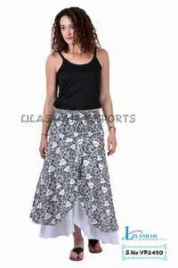 Cotton Printed Casual Wear Women Black/White Color Long Skirt