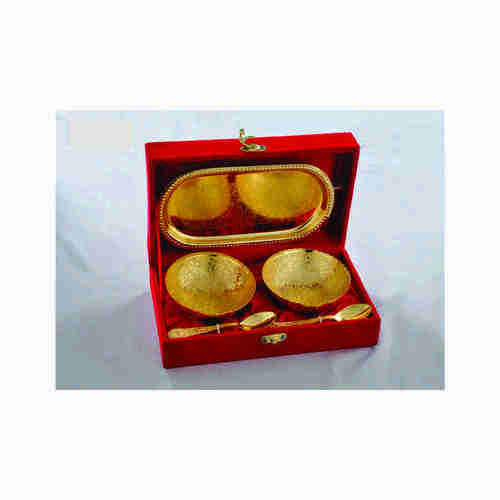 Gold Plated Brass Bowl With Tray Set