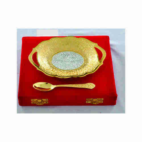Silver Plated Brass Round Fruit Bowl and Spoon