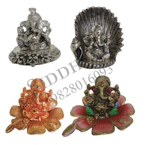 White Metal Ganesha Idols