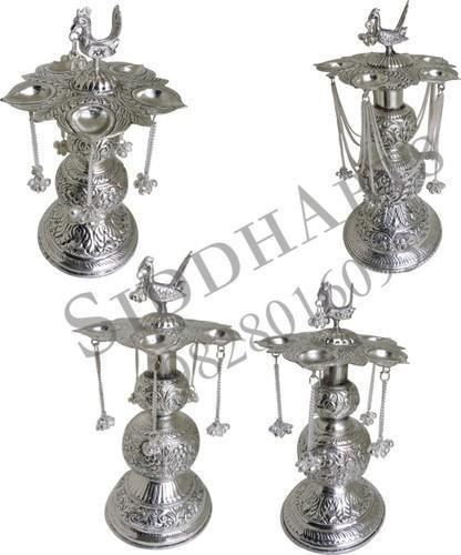 Antique Silver Plated Arti Pooja - Deepak Stands