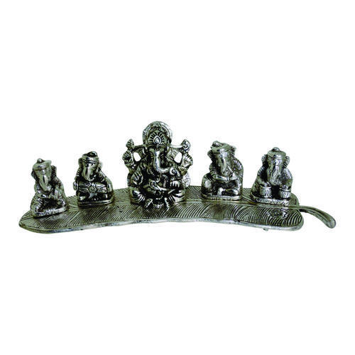 Ganesha On Banana Leaf White Metal Pooja Idol