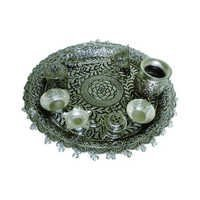 Hand Carved Silver Plated Pooja Thali
