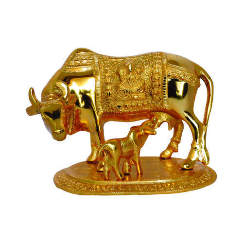 Metal Big Golden Kamdhenu Cow