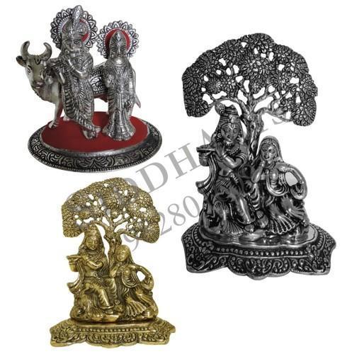 White Metal Radha Krishna idol Silver & Gold
