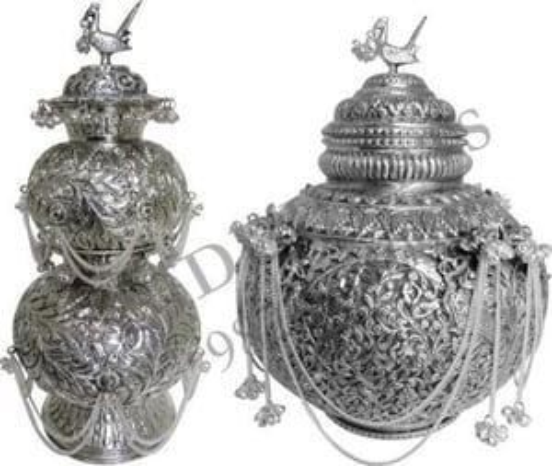 Silver Plated Decorative Garba Kalash Or Matki