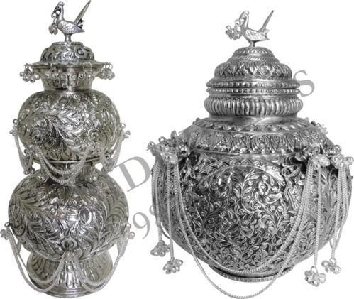 Silver Plated Decorative Garba Kalash Or Matki