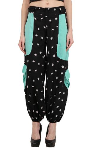 Poly Crepe Big Star Print Beachwear Women Trouser