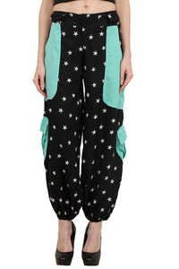 Poly Crepe Big Star Print Beachwear Women Trouser