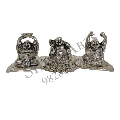 White Metal Laughing Buddha