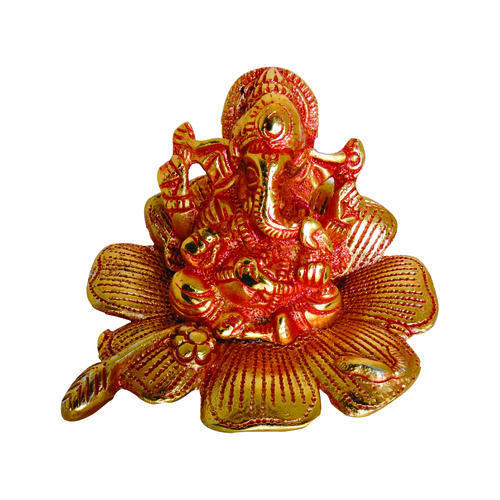 White Metal Flower Ganesha