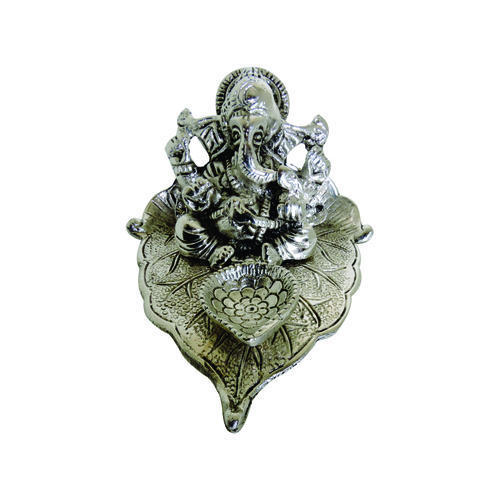 Hand Made Silver Ganesha With Deepak