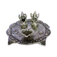 White Metal Laxmi Ganesh Pooja Thali with Diya
