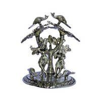 White Metal Radha Krishna Statue - Under Tree