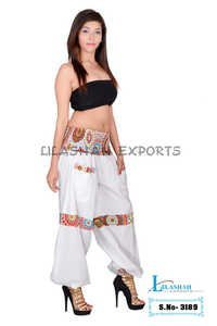 Cotton Solid Women White Harem Trouser