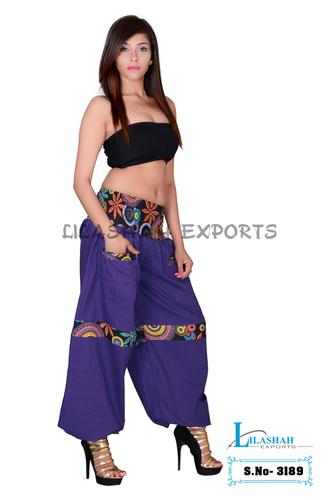 Cotton Solid Women Purple Harem Trouser
