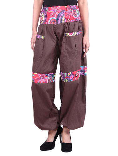 Cotton Solid Women Brown Harem Trouser
