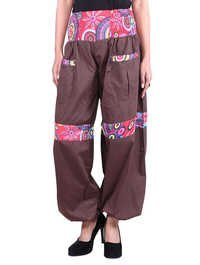 Cotton Solid Women Brown Harem Trouser