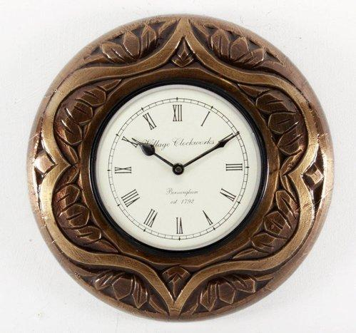 Hand Carved Brass Fitted Wall Clocks