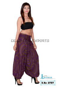 Cotton Formal Print Women Purple Casual Wear Trouser