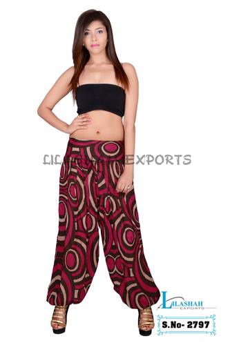 Cotton Formal Print Women Pink Casual Wear Trouser