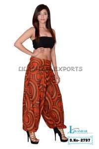 Cotton Formal Print Women Orange Casual Wear Trouser