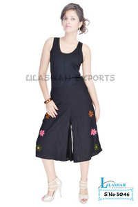 Cotton Printed Emb. Black Color Short Trouser
