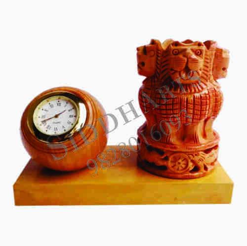 Desktop Clock With Ashoka Pillar Pen Stand