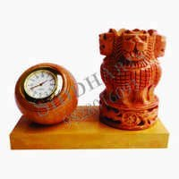 Desktop Clock With Ashoka Pillar Pen Stand