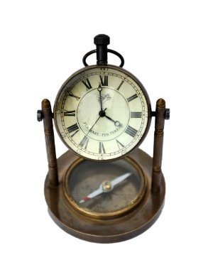 Brass Antique Clock and Compass Table Top