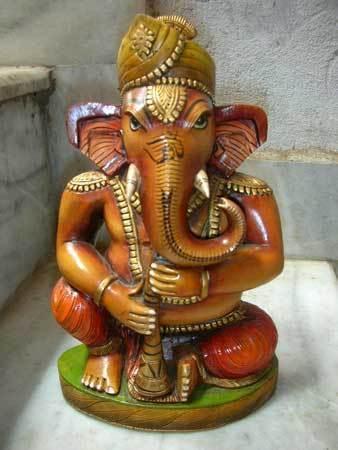 Handcarved Wooden Ganesha