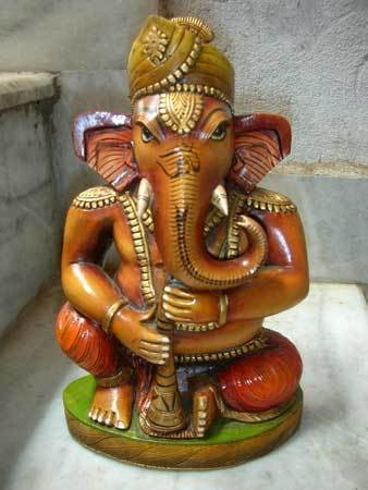 Handcarved Wooden Ganesha