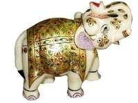 Hand Painted Decorative Marble Elephant