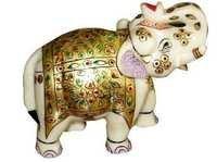 Hand Painted Decorative Marble Elephant