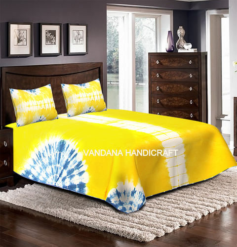 Tei Dye Hand Printed Bedsheet With 2 Pc Pillow