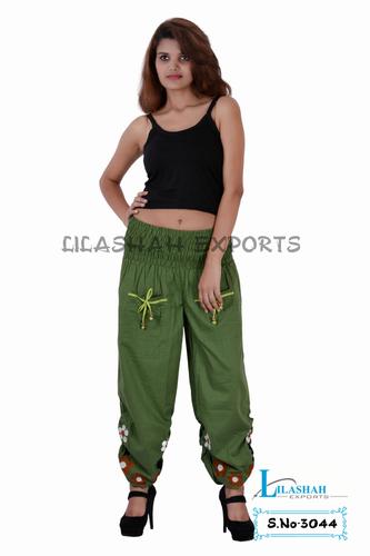 Cotton Plain Mehndi Green Color Trouser