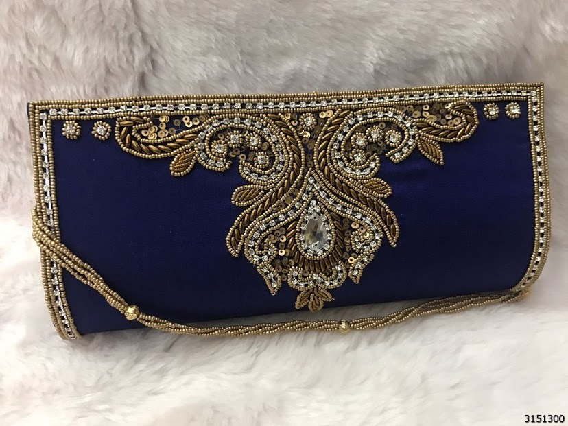 Designer Heavy Stone Work Clutch Bags With Sling