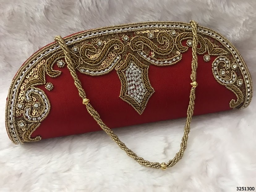 Designer Beaded Silk Clutch Bag