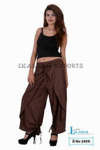 Rayon Plain Brown Color Trouser