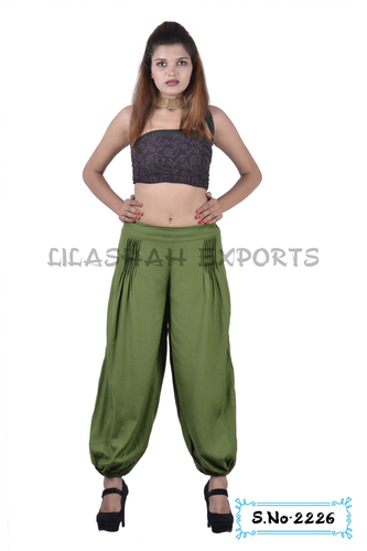 Rayon Plain Mehndi Green Color Trouser