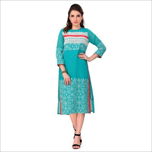 Georgette Kurti With Chiken Embroidery